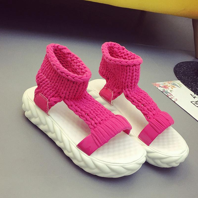 毛线编织凉鞋女夏时尚新款女鞋中跟女士平底松糕厚底百搭学生鞋子