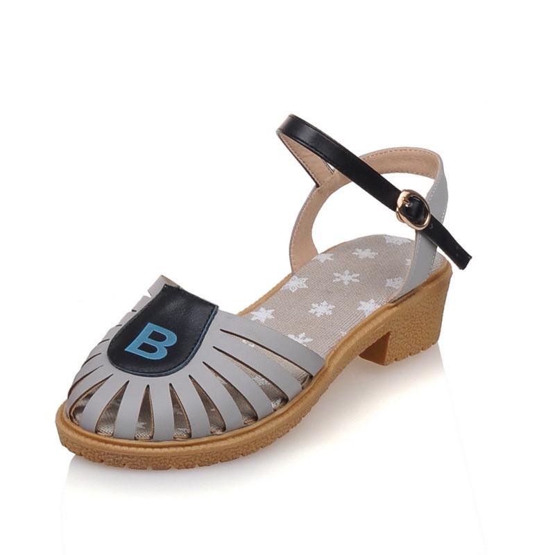 夏季新款凉鞋女包头洞洞鞋中跟学生鞋甜美可爱粗跟休闲韩版女鞋子