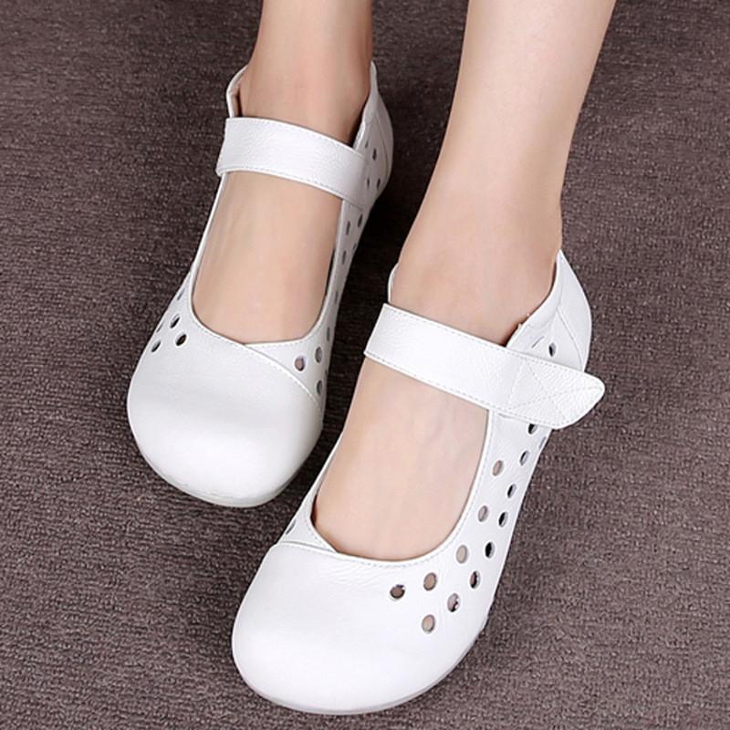 护士鞋大头娃娃鞋牛筋底女鞋洞洞鞋平底镂空凉鞋孕妇鞋