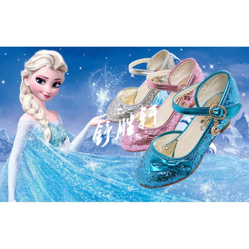 儿童高跟鞋女童单鞋冰雪奇缘水晶鞋2017新款儿童公主鞋蝴蝶结凉鞋