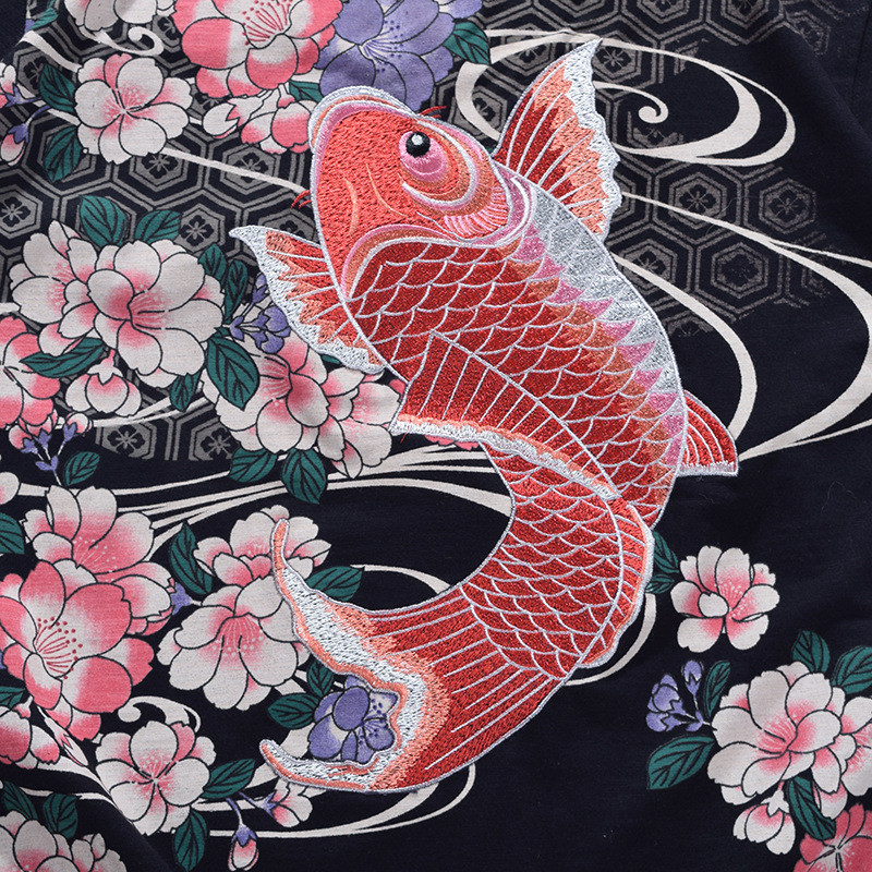 卓胜基日系浮世绘刺绣鲤鱼短袖t恤男潮牌中国风纹身体恤衫宽松情侣装