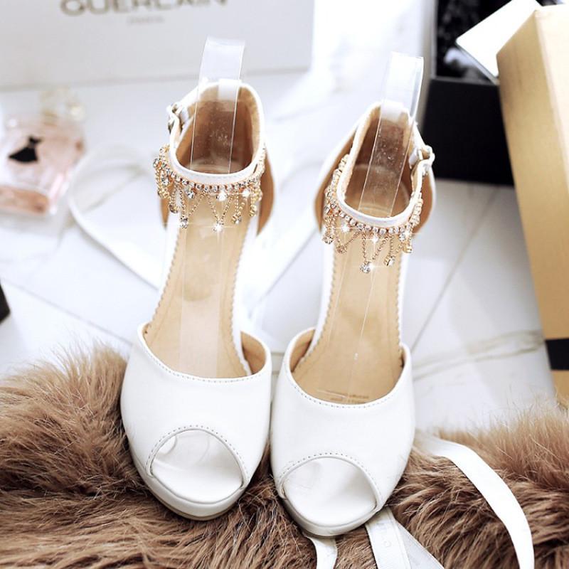 卓胜基夏季鱼嘴鞋女凉鞋水钻小女孩高跟鞋粗跟儿童公主鞋女童鞋子跳舞