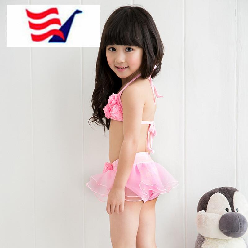 2018夏季新款裙式分体比基尼小女孩中大儿童泳衣可爱女童泳装4-10-13
