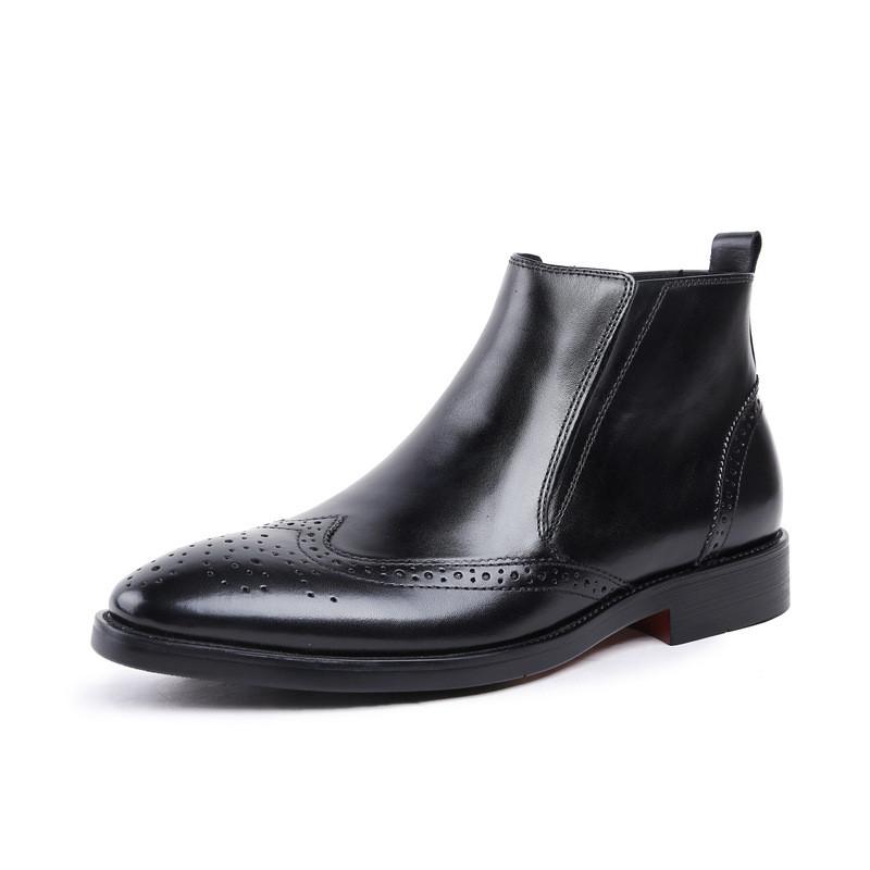 中帮马丁靴男士短靴切尔西靴真皮高帮拉链靴子布洛克正装皮鞋英伦图片