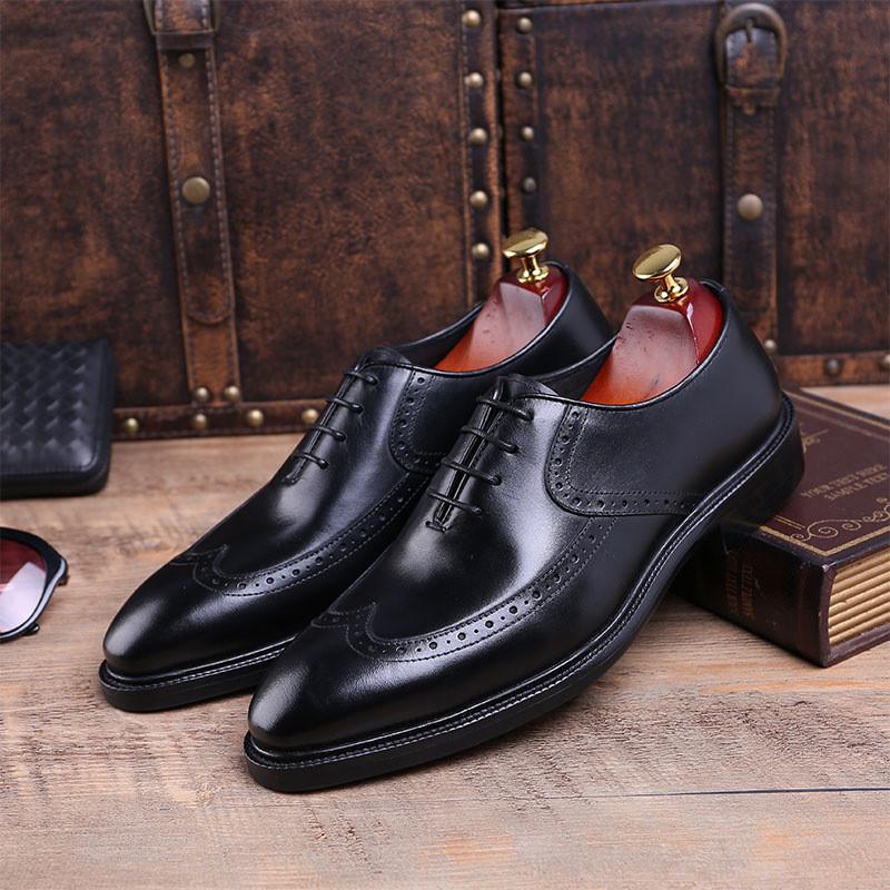 英伦布洛克雕花擦色牛皮男鞋男士休闲皮鞋男复古手工固特异牛津鞋