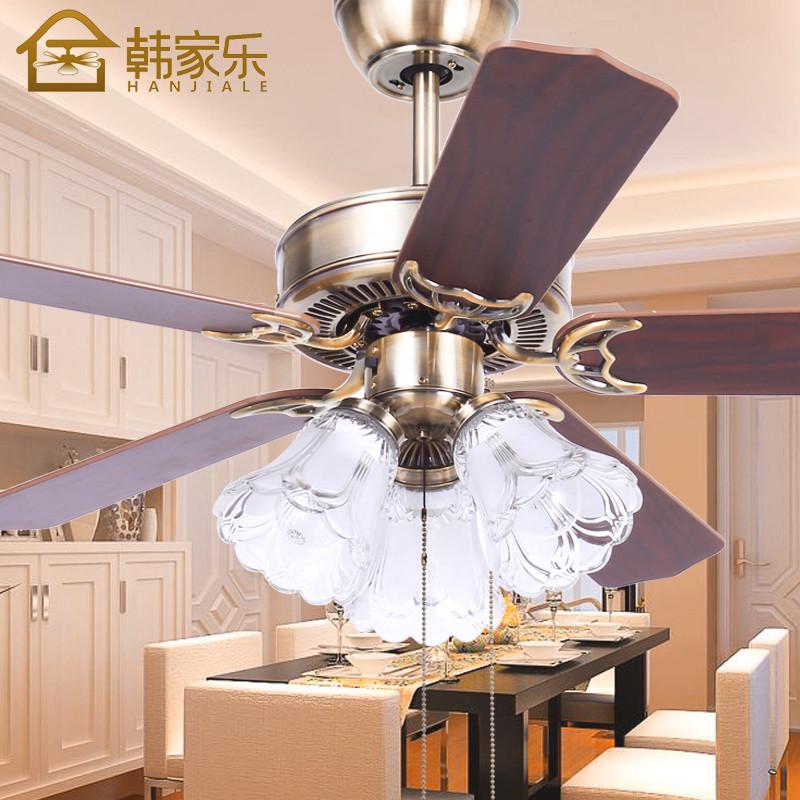 韩家乐木叶餐厅吊扇灯 欧式复古客厅装饰带风扇吊灯 卧室风扇灯