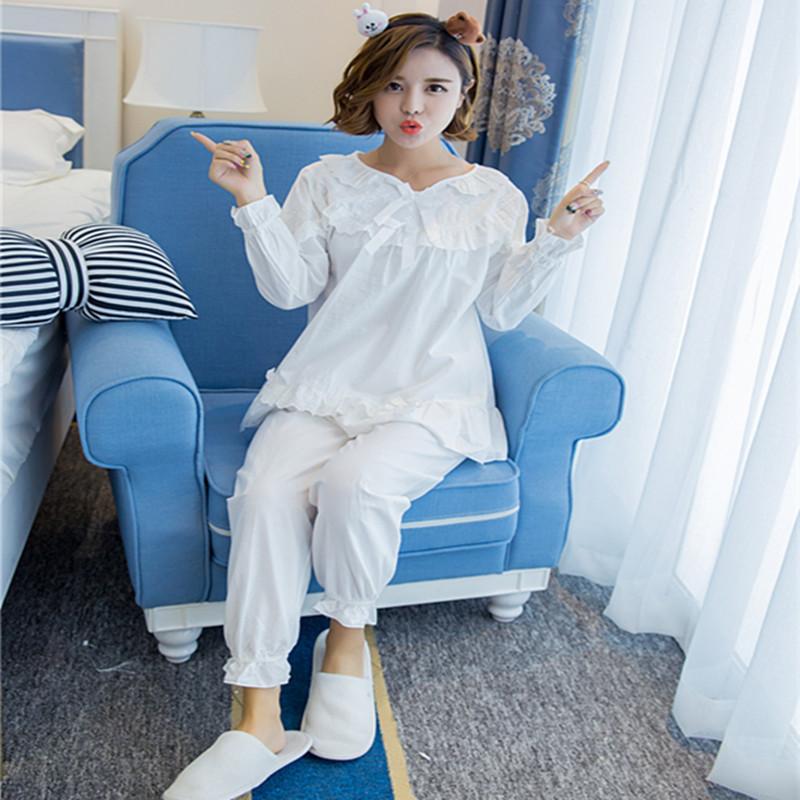 歌依图 韩国春秋可爱公主女士纯棉睡衣女长袖蕾丝家居