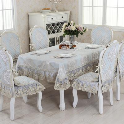 木儿家居 欧式亚麻提花餐桌布 椅垫椅背 餐椅垫圆桌布套装90*90