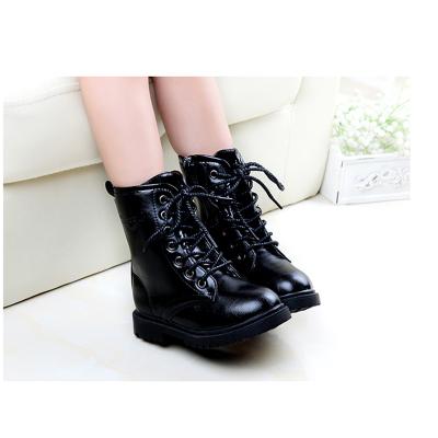 新款儿童棉靴子秋冬季童鞋黑色男童马丁靴女童单靴雪地靴