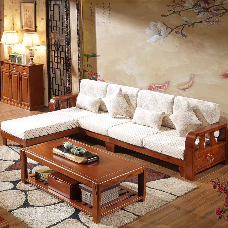 实木沙发组合橡木新中式木布贵妃沙发大小户型客厅转角沙发可拆洗