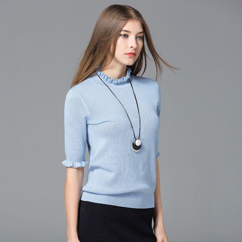 kruidvat2017春季新款女装欧美修身中袖木耳边针织衫m8蓝色