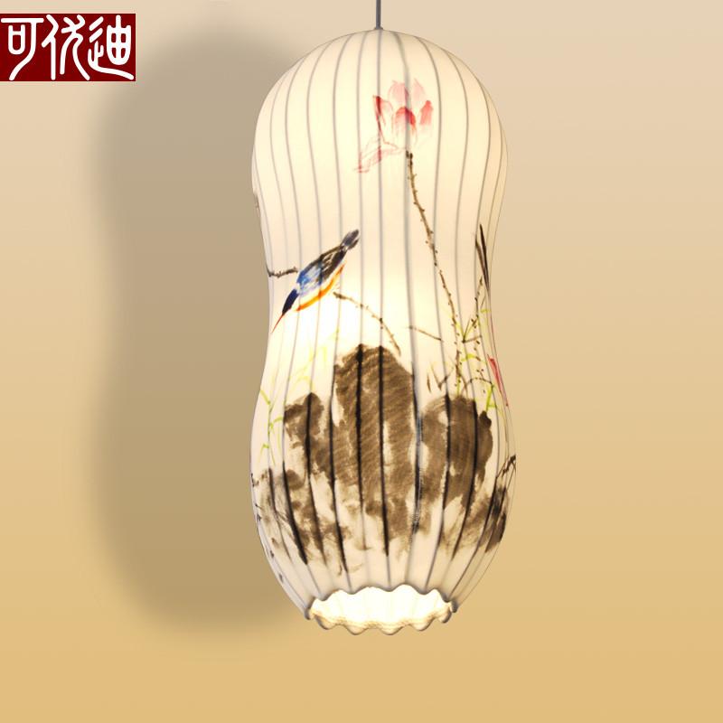 现代简约新中式布艺灯笼绘画吊灯创意仿古手绘写意荷花鸟笼吊灯具