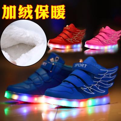 冬季童鞋男女童高幫加絨大棉鞋兒童充電發光鞋帶閃光燈翅膀鞋板鞋
