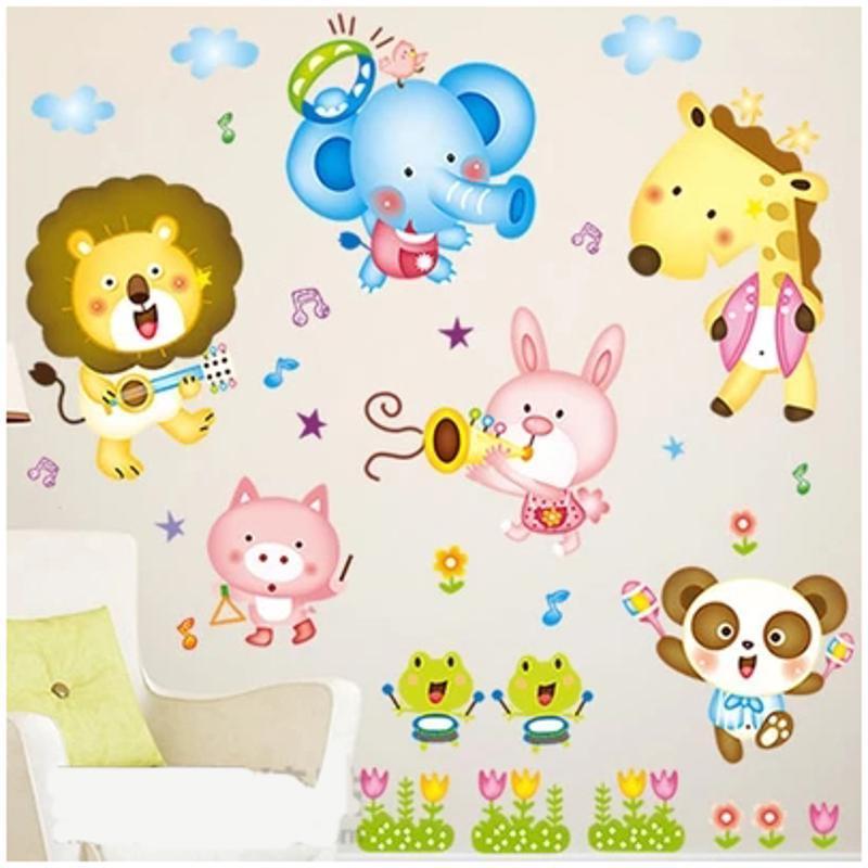 儿童卡通小动物乐队幼儿园早教中心托儿所布置墙贴纸