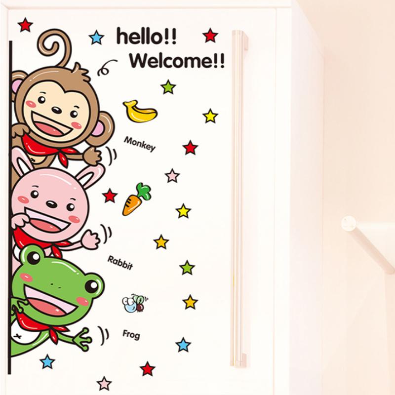 幼儿园卡通玻璃贴儿童房可爱小动物墙贴画可移除学校寝卧室墙贴纸