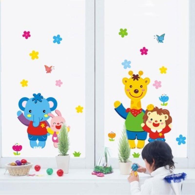 可移除儿童房可爱动物乐园防水墙贴纸宝宝卧室幼儿园教室装饰