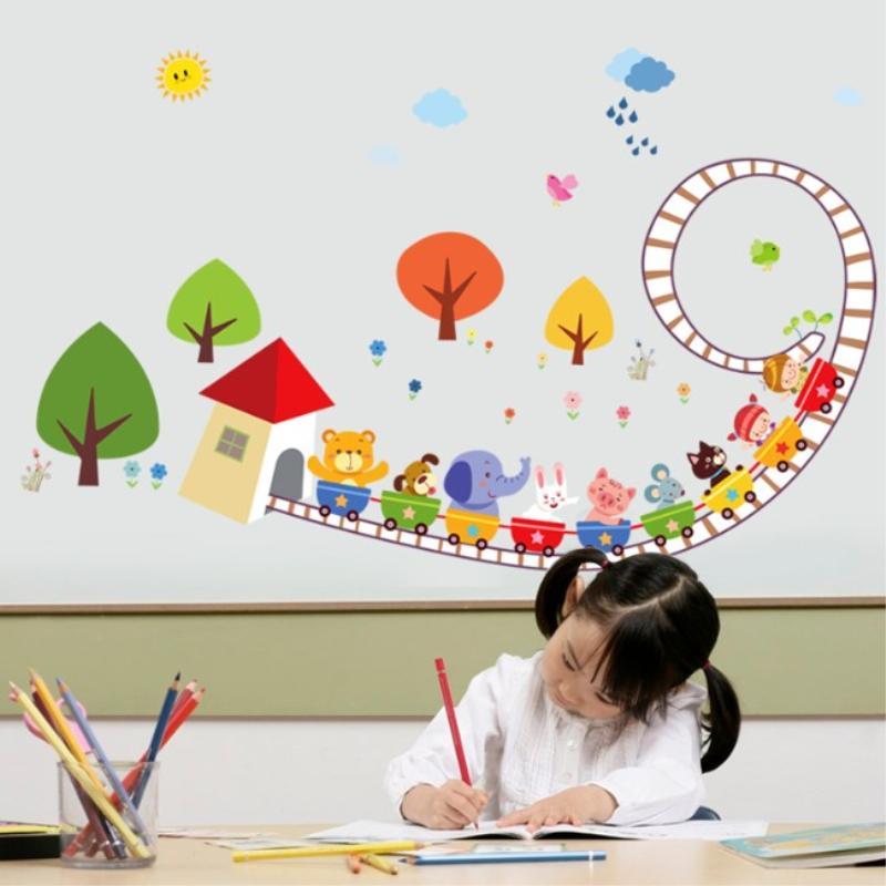 动物乐园卡通墙贴 儿童房幼儿园装饰卡通温馨卧室男孩