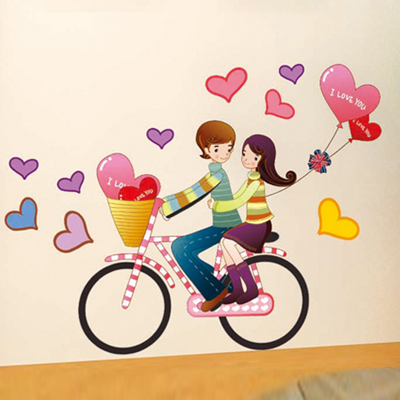 浪漫婚庆婚房布置墙贴画 客厅卧室沙发温馨情侣房间贴纸情侣单车