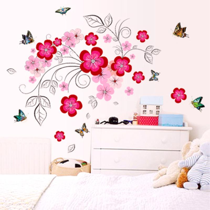 可移除墙贴纸卧室温馨床头墙壁贴花玻璃门贴画房间墙面简约装饰品