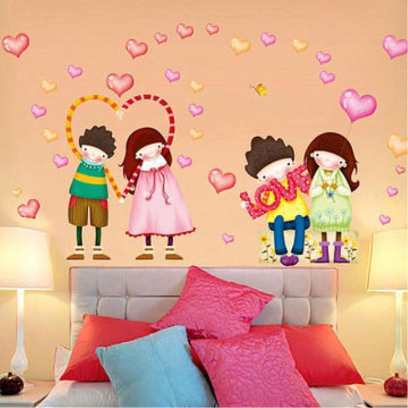 可移除墙贴纸客厅卧室儿童房间装饰幼儿园背景墙壁卡通可爱心贴画