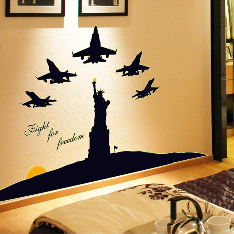 欧式浪漫墙壁贴纸 客厅背景夜光效果装饰墙贴 可移除自由女神像