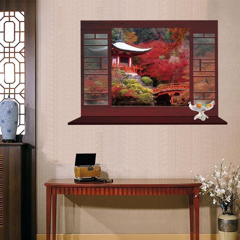 中式大型风景壁画假窗户橱窗玻璃贴膜酒店宾馆墙贴茶楼酒吧假窗贴