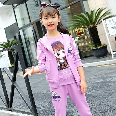 2016年新款韩版儿童男女童运动三件套装中大童女装小孩衣服 可爱浅粉