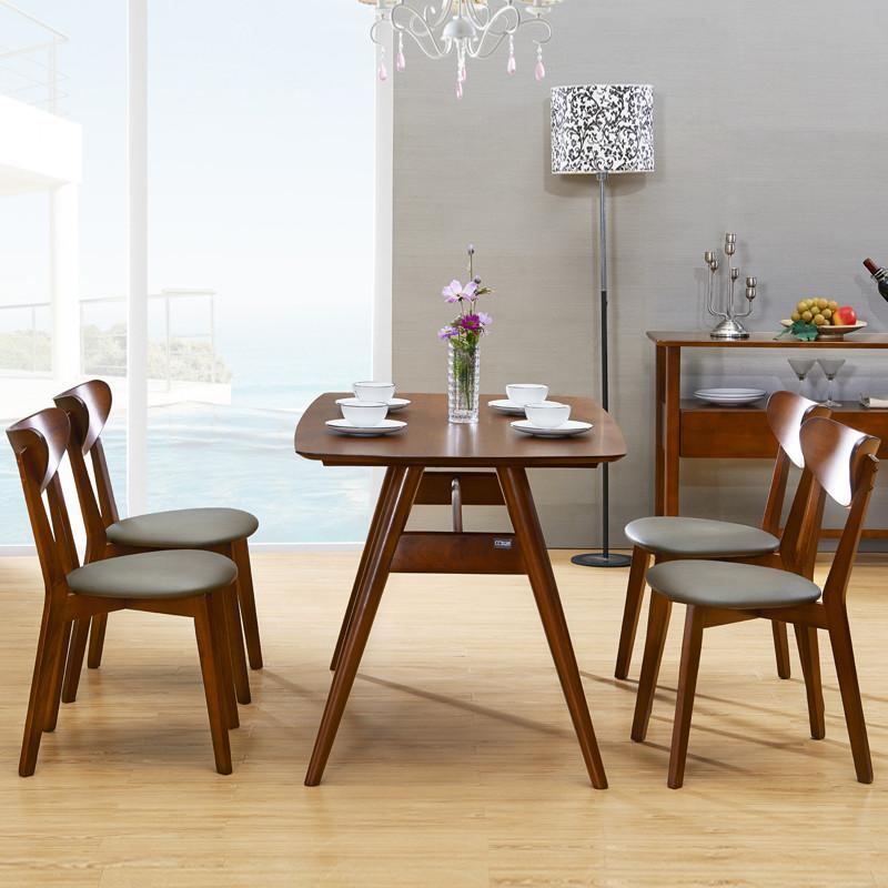 林通 北欧实木餐桌6人小户型长方形桌子现代简约原木色餐桌椅组合