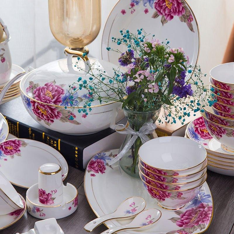 新品陶瓷餐具套装 碗碟套装骨瓷家用陶瓷碗盘套装高档图片