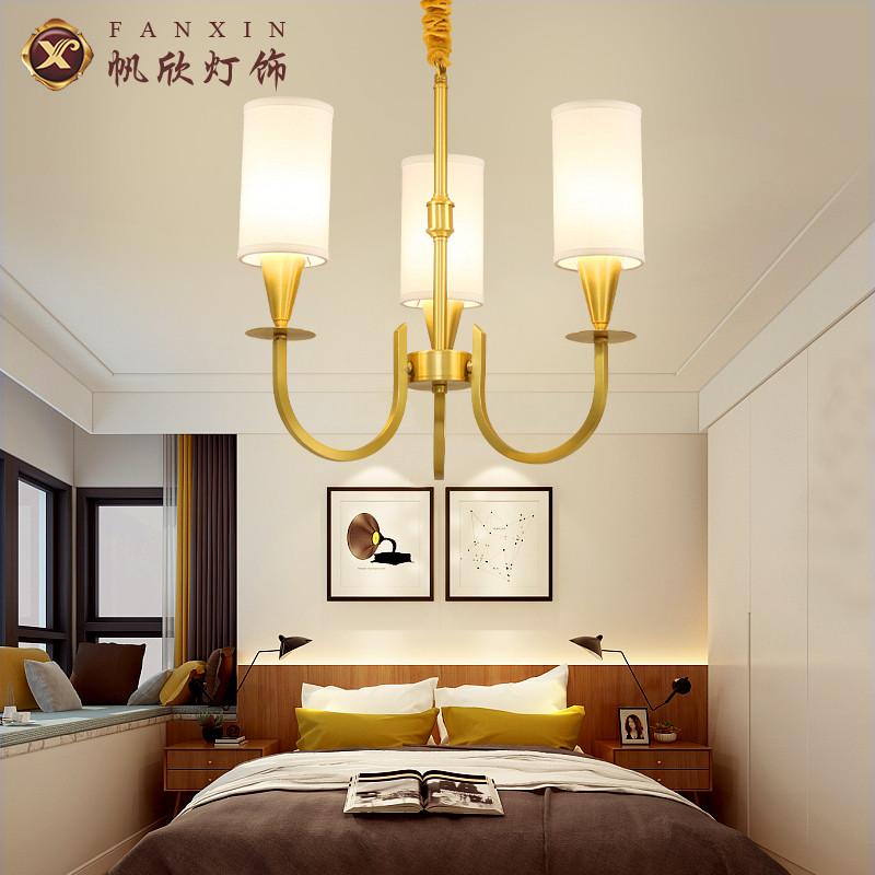 美式乡村全铜吊灯客厅餐厅灯创意简约现代卧室书房铜吊灯灯饰1120图片