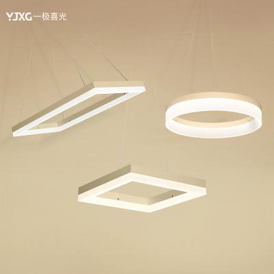 后现代简约led吊灯圆形餐厅吧台灯创意个性办公室长方形灯饰灯具 正方