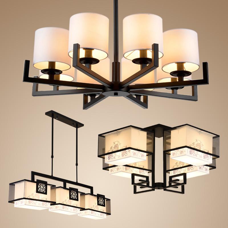 新中式吊灯客厅灯 现代简约餐厅吊灯复古铁艺灯中式灯具套餐套装 客厅