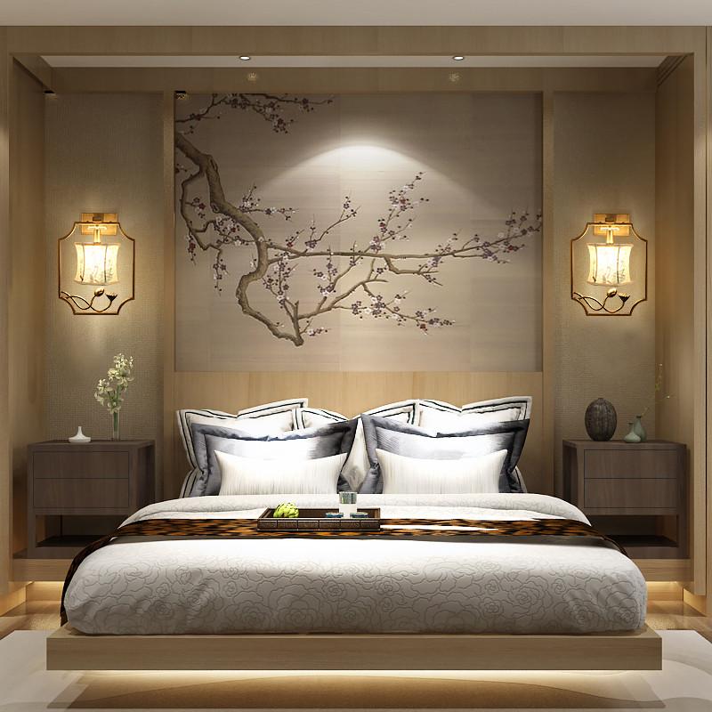 海斯銳 新中式壁燈 仿古典臥室床頭燈酒店走廊過道燈復古荷花客廳壁燈