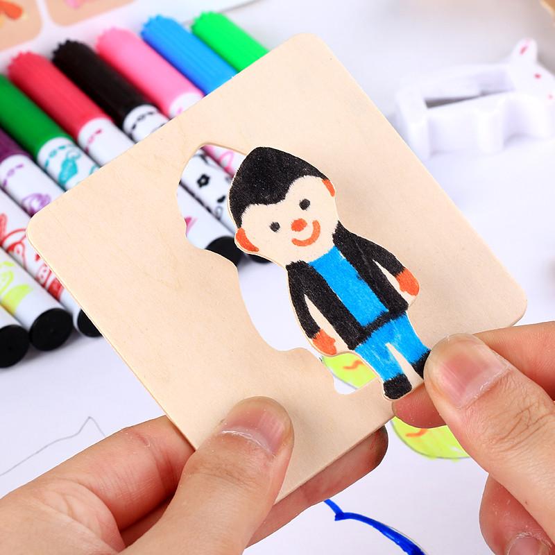 兒童學畫畫工具寶寶涂鴉涂色填色男女孩繪畫模板套裝兒童禮物玩具