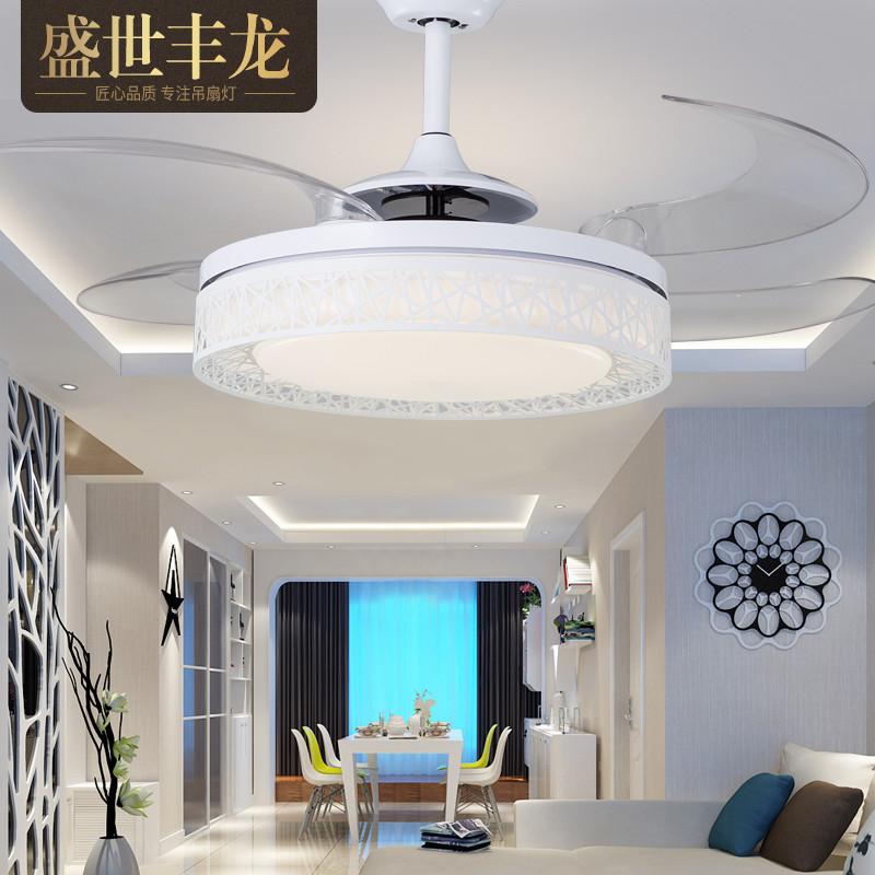 隐形吊扇灯 卧室客厅餐厅风扇灯 简约现代鸟巢电风扇家用风扇吊灯