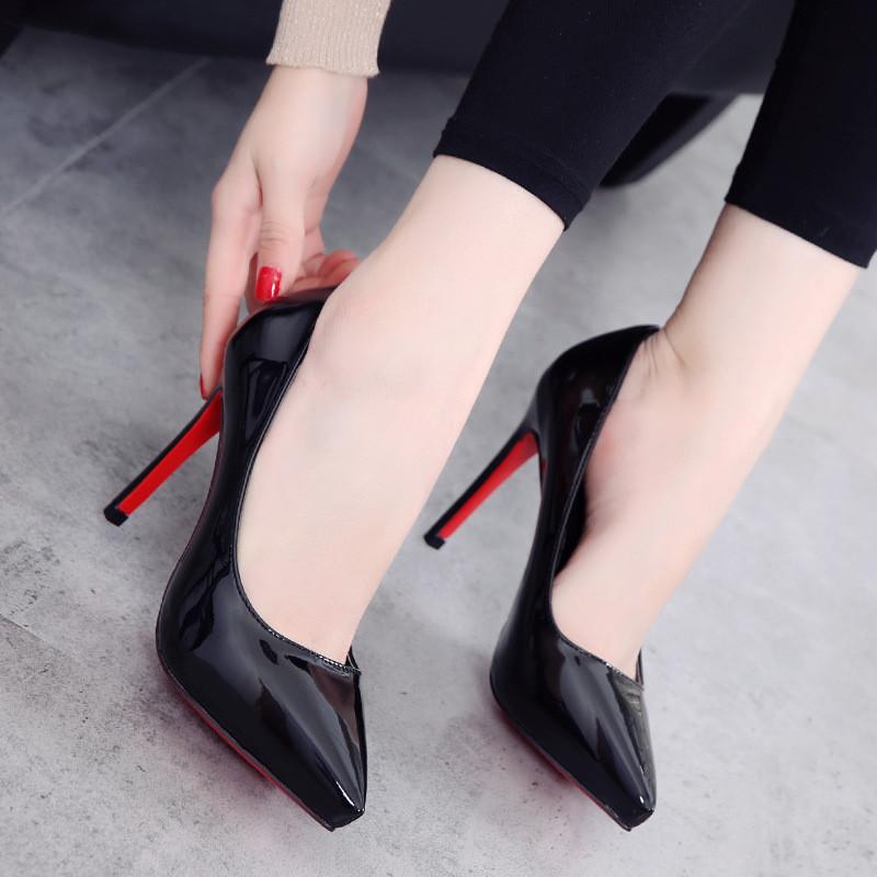 欧美时尚漆皮浅口尖头鞋性感细跟防水台超高跟鞋2017春秋新款女鞋