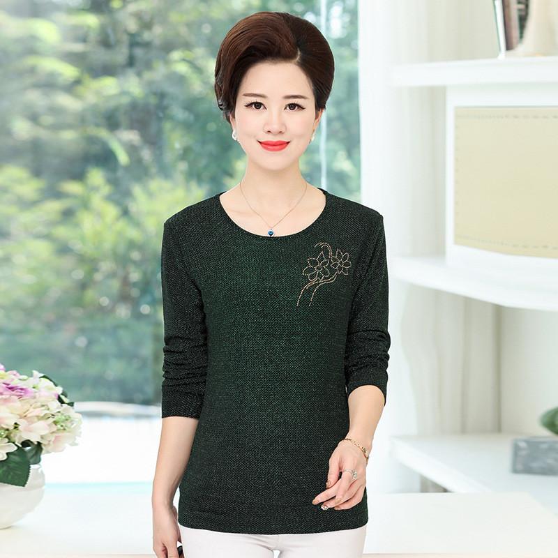 中年服装_中年女装韩版长袖t恤中老年妇女气质打底衫宽松大码秋