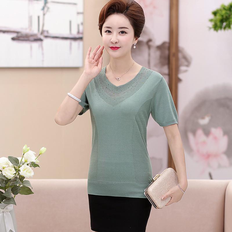 中老年女裝夏裝新款桑蠶絲短袖t恤40-50歲中年媽媽裝加肥加大上衣圖片