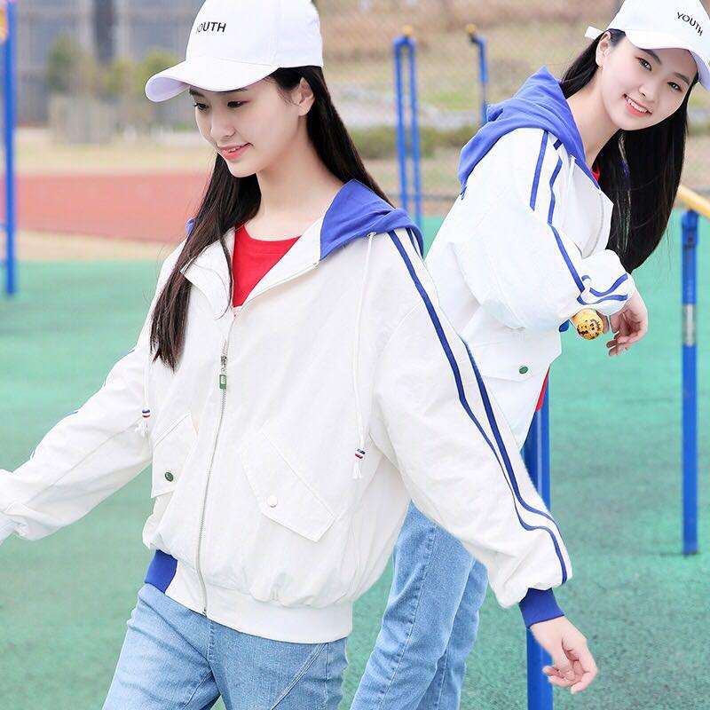 少女装_17春装12少女装外套13初中14高中学生女孩15岁短款连帽卫衣棒球服
