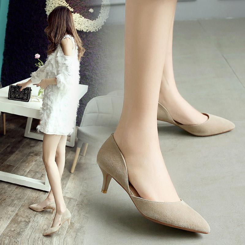 尖头单根鞋女2017新款百搭性感细跟高跟鞋18岁春秋五厘米单鞋