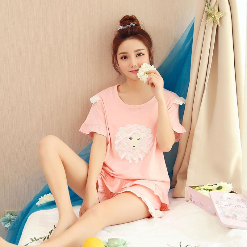 韩版学生睡衣女夏季纯棉短袖甜美可爱日系清新家居服两件套装宽松
