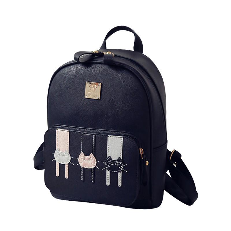 皮质书包少女双肩包女韩版时尚卡通小猫背包甜美小清新休闲旅行包