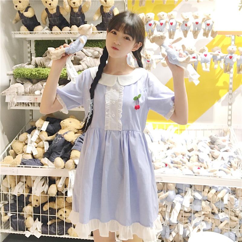 2017新款夏季女装韩版学生少女可爱荷叶边中长款裙子短袖连衣裙萌
