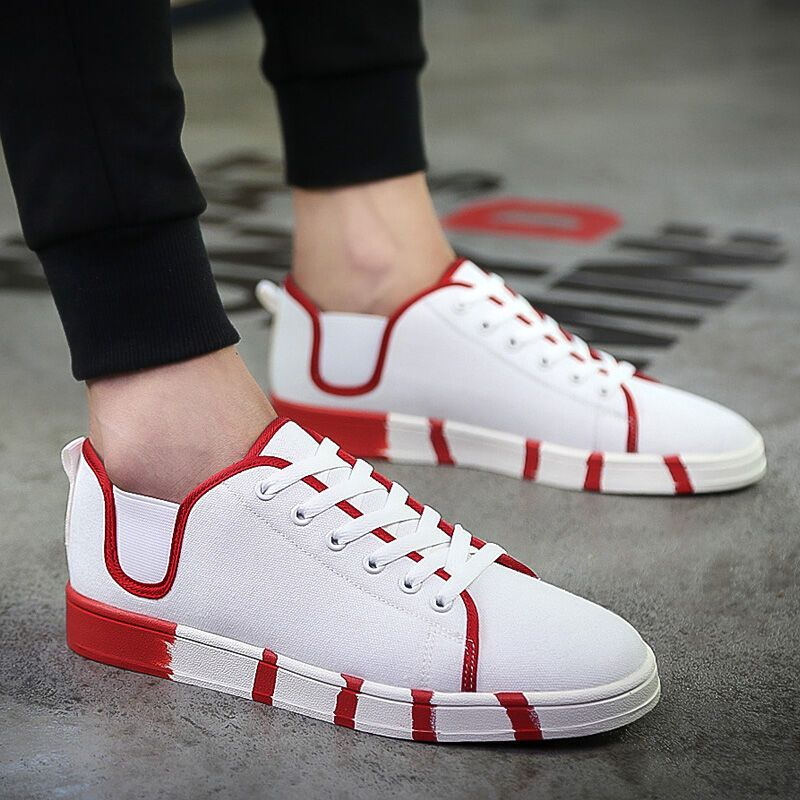 夏季休闲鞋男帆布鞋中学生百搭韩版潮流透气布鞋运动潮鞋男鞋板鞋韩版