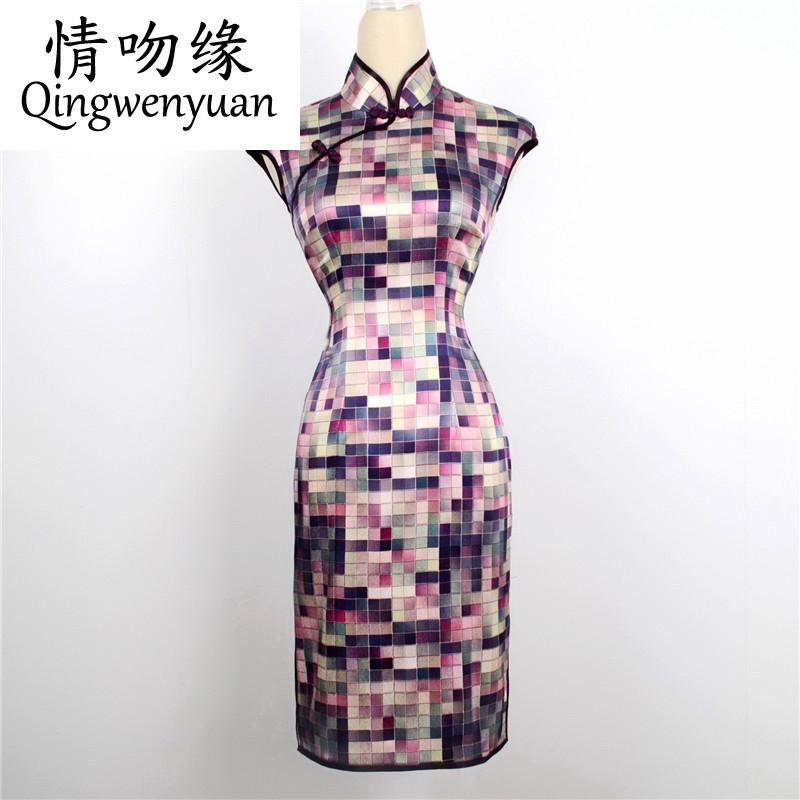 情吻缘厂家春夏新款女士旗袍热销 时尚真丝格子撞色低