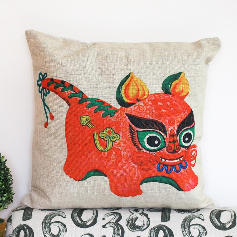 一橙中式创意布老虎系列抱枕 春节喜庆沙发靠垫靠枕复古搞笑传统年货