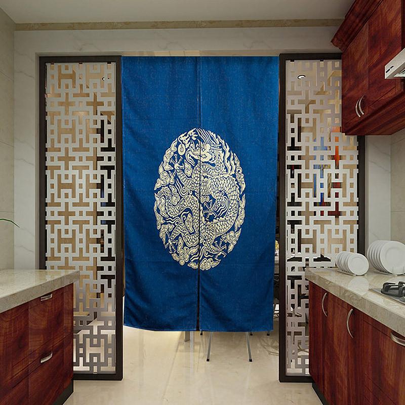 一橙 手绘棉麻门帘隔断 创意客厅挂帘卧室装饰帘 卫生