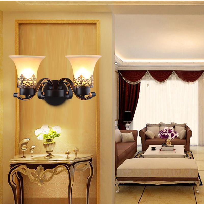 左革燈飾美式鐵藝單頭壁燈客廳電視背景墻雙頭壁燈臥室仿古新款美式壁