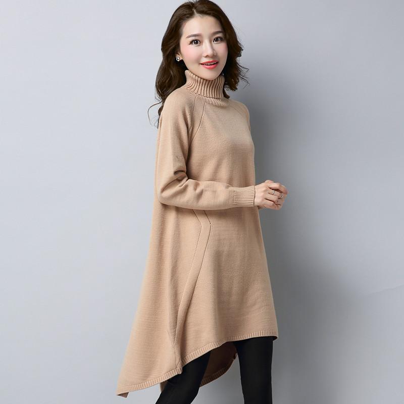 珍真羊 高领毛衣裙2017秋冬新款女套头针织打底衫宽松