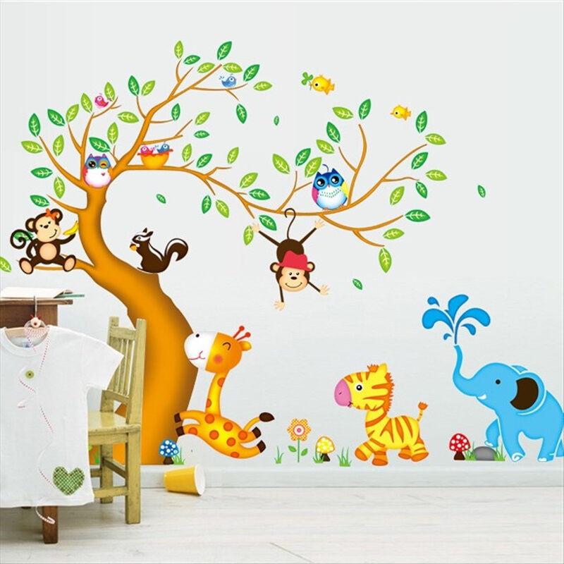 卡通墙贴纸可移除卧室可爱动物贴画幼儿园教室布置贴后约200cm130cm大